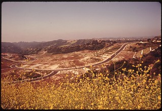 New road and lots awaiting development are seen off Mulholland Drive in the Santa Monica Mountains on the western edge of Los Angeles, May 1975