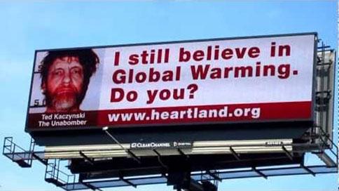 billboard featuring Unabomber Ted Kaczynski