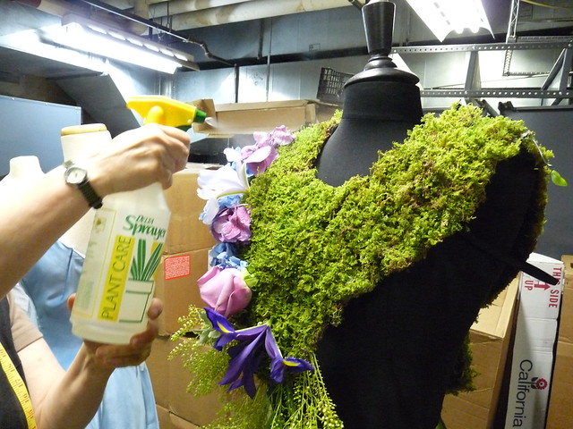 Dextras's works for BBG's Spring Gala and After Party incorporate live moss and other botanical elements, which she mists to keep fresh. Photo by April Greene.