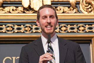 18770 District 8 Supervisor Scott Wiener rode in a Bike to Work Day commuter convoy