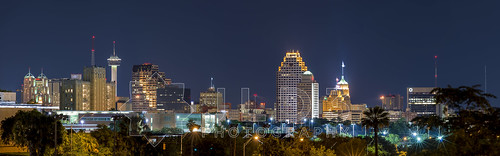 urban panorama skyline night nikon san long exposure downtown cityscape texas skyscrapers metro panoramic clear 28 antonio d800 80200mm