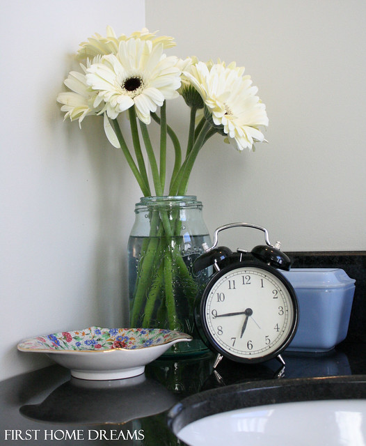 white gerbera daisy antique vintage mason jar delphite pyrex ikea clock old cottage chintz