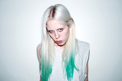 white-blonde-green-hair
