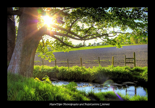 sunset tree field canon fence river landscape rebel hdr isleofman crosby photomatix