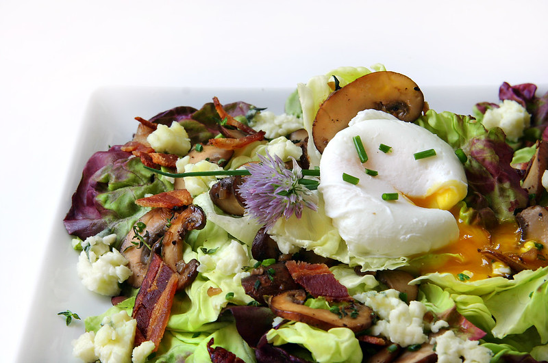 salad with warm bacon & mushroom vinaigrette