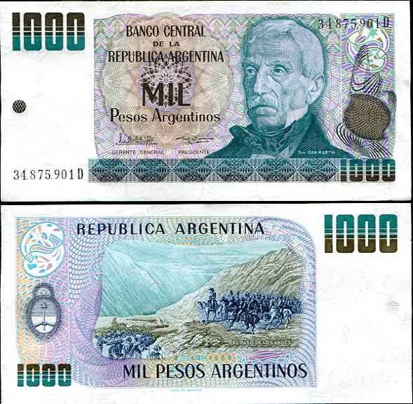 1000 Pesos Argentinos Argentína 1983-85, Pick 317