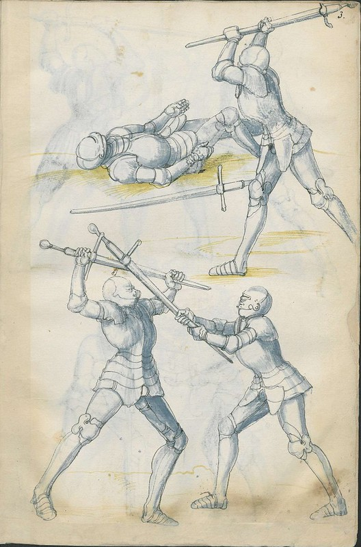 16th century sword fight manuscript drawing - Combat Knights 5