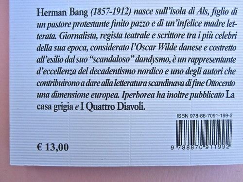 Herman Bang, La casa bianca. Iperborea 2012. [responsabilità grafica non indicata]. Quarta di copertina (part.), 2