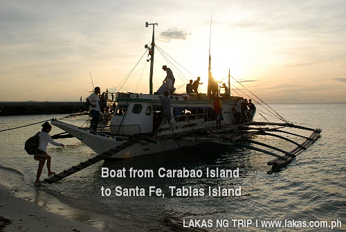 Boat from Carabao Island to Santa Fe, Tablas Island, Romblon