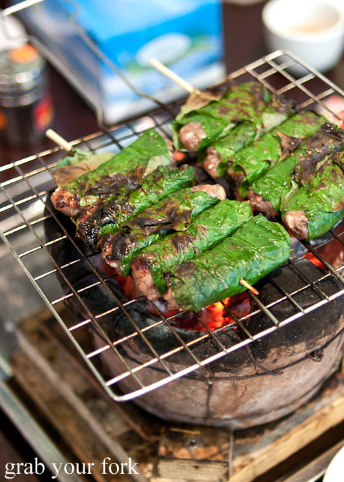 Bo La Lot betel leaf grilled beef at Hai Au Lang Nuong Canley Vale