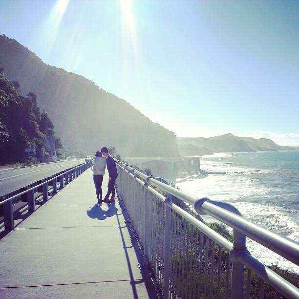 Bloggers Dawn Yang and Brad Lau at Sea Cliff Bridge