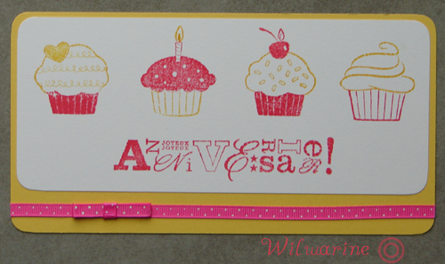 carte d'anniversaire rose et jaune