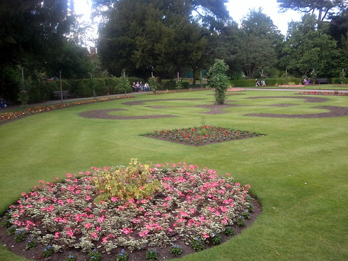 The meticulous flower beds at the Abbey Gardens