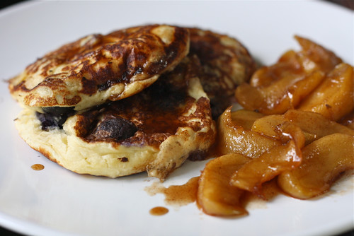 Blueberry pancakes and stewed apples