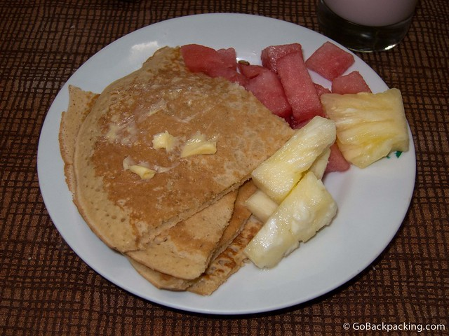 Pancakes and fresh fruit for breakfast