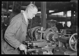 Railroad parts. Baldwin Locomotive Works. Toolmaker making a taper sleeve gauge from a taper reamer, March 1937