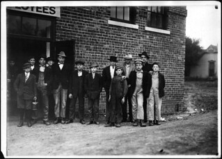 Group of men and boys at Friedman Shelby Shoe Co. The youngest, apparently 11 or 12 years old is Felber McLaughlin, October 1910