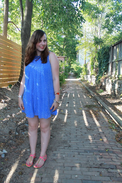 "Blue Monday outfit: ""Flocked Cobalt Dress"" from Anthropologie, Dolce Vita sandals, DIY ombré bracelet and necklace, J.Crew pavé cable bracelet, etc."