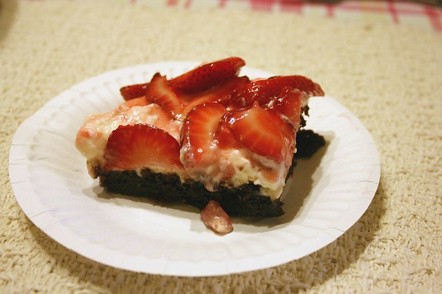 Strawberry-Glazed Brownie Dessert Squares