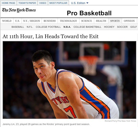 July 17th, 2012 - NY Times headline that Jeremy Lin is headed to Houston