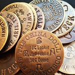 vintage brothel tokens. 10c lookie, 25c feelie, 50c dooie. kind of a bargain!
