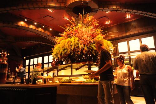 Salad bar, flower arrangement, interior decor, food lighting, Texas De Brazil, restaurant, Schaumburg, Illinois, USA by Wonderlane