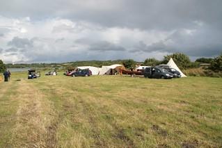 Rahseglertreffen Vorbereitungen - Wiese neben den Wikinger Häuser mit Zelten von Handwerker und Händler - Museumsfreifläche Wikinger Museum Haithabu WHH 12-07-2012