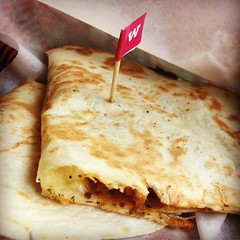 Quesadillas Large toasted tortilla oozing with melting mozzarella and classic Mexican ingredients. British chorizo, made to our own special recipe, with diced sauteéd potatoes and fresh thyme. #wahaca #quesadilla