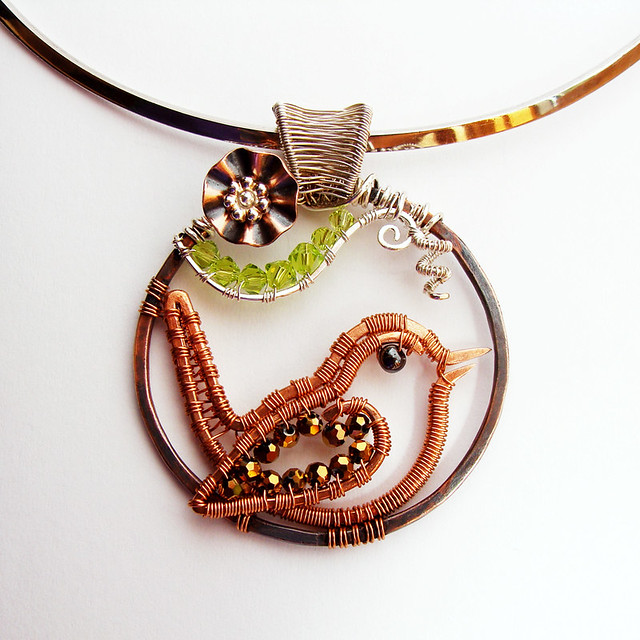 Copper Wren Pendant