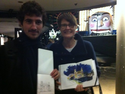 Freezing cold sketching tonight. With Nono from USk Malaga