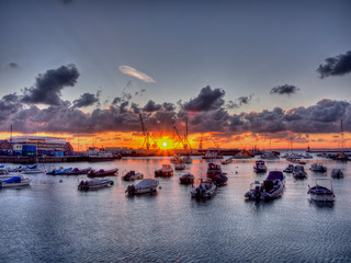 Guernsey harbour sunrise