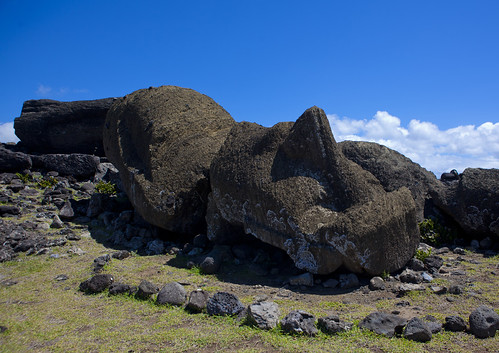 Fallen Moais At Ahu Maki, Easter Island, Chile