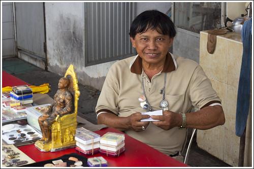 Buddha amulet seller in Phuket Town