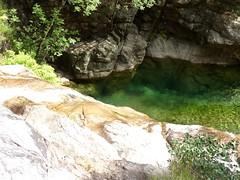 Remontée du Carciara en amont du canyon : la cascade avec le pas d'escalade humide