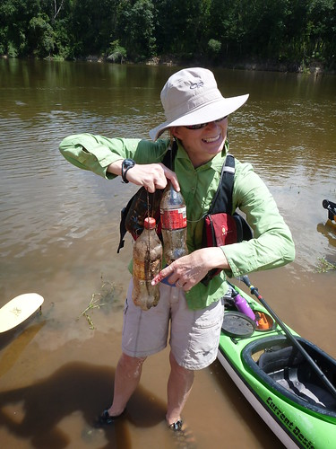 Georgia cuts her finger on a fishing hook