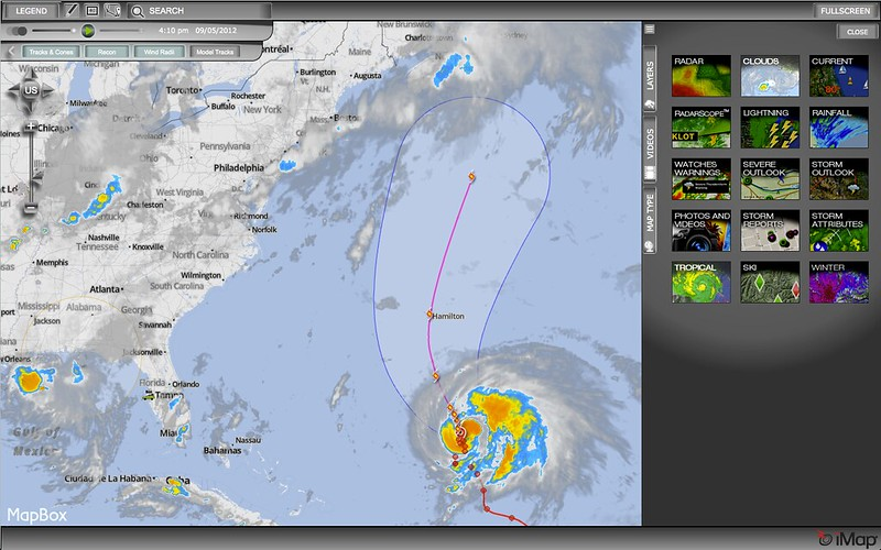 Hurricane Leslie (close to Bermuda) with winds at 75 miles per hour