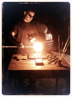 Dario deHoyos doing a glassblowing demo for the Sep 2012 First Friday art walk in Leesburg, VA, photo credit Steve Loya