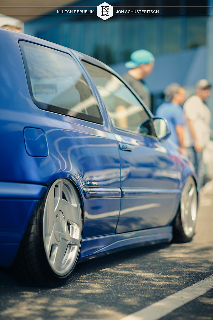 blue vw mk3 golf gti 24v vr6 nothale at wekfest east 2012 new jersey convention center 3pc wheels static airride low slammed coilovers stance stanced hellaflush poke tuck negative postive camber fitment fitted tire stretch laid out hard parked seen on klutch republik