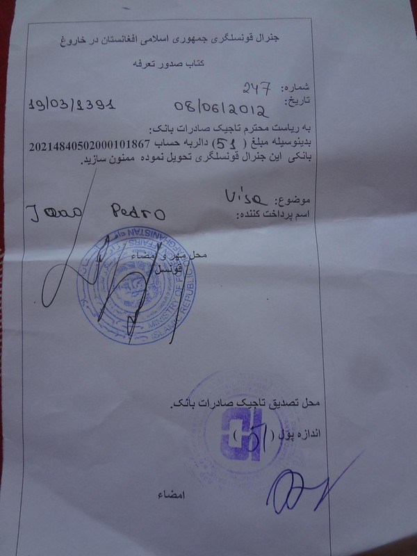 Recibo do visto para o Afeganistão para ir pagar ao banco em Khorugh