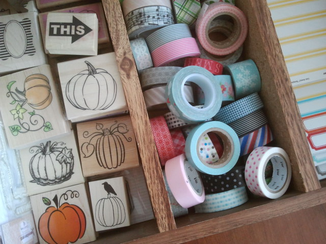 Pumpkin rubber stamps and other supplies
