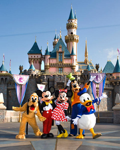 Characters in front of Sleeping Beauty Castle by Jim and Kristen Hoffman