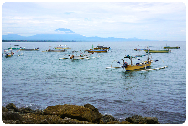 Sanur view over Mt Agung