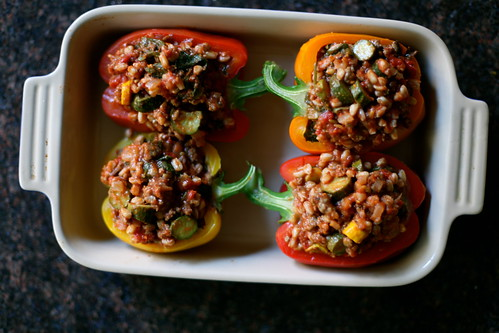 Stuffed Peppers with Farro & Summer Squash