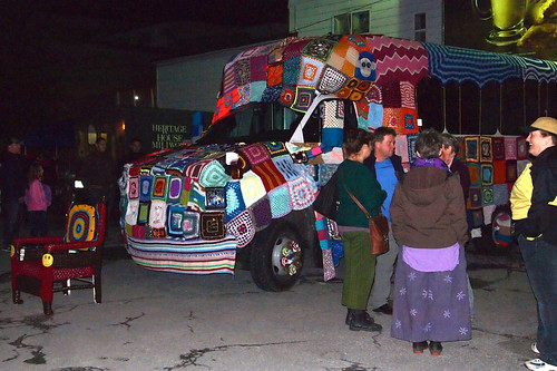 yarn bombing a bus