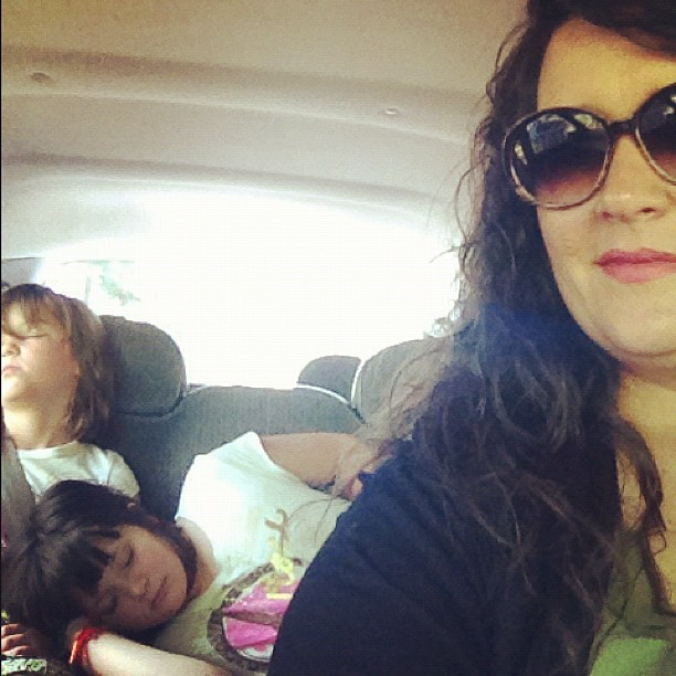 From earlier today.  The girls were asleep in the backseat on the way home from church.  ❤