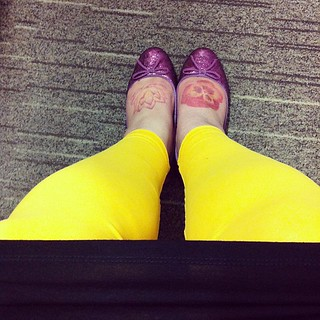 Pink sparkles and hot yellow. #showyourshoes