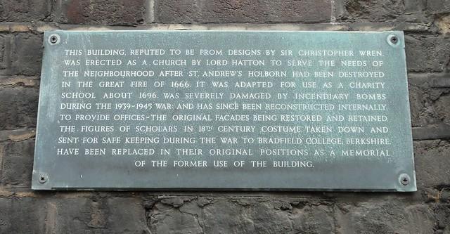 Photo of Christopher Wren slate plaque