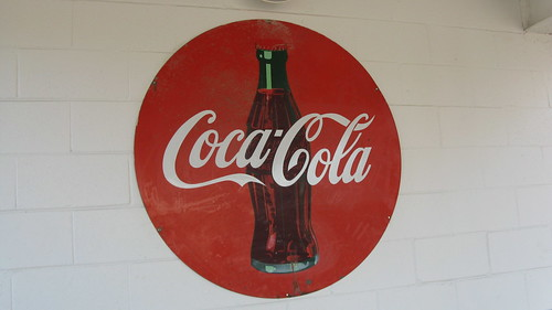 Coca Cola sign at Rand Red Hots.  Des Plaines Illinois.  September 2012. by Eddie from Chicago