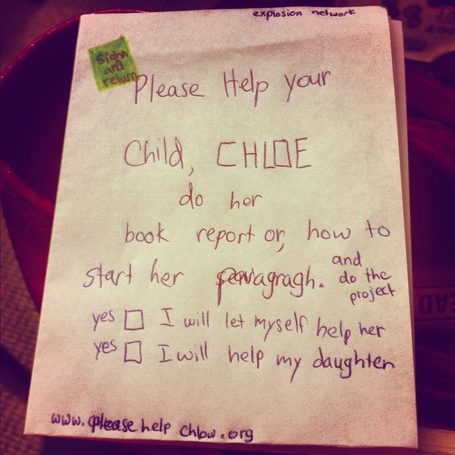 Chloe's hilarious note