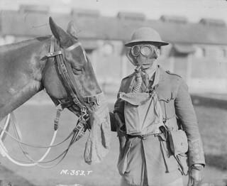 Soldier and horse at Canadian Army Veterinary Corps Headquarters / Un soldat et son cheval au quartier général du Corps de vétérinaires de l'armée canadienne